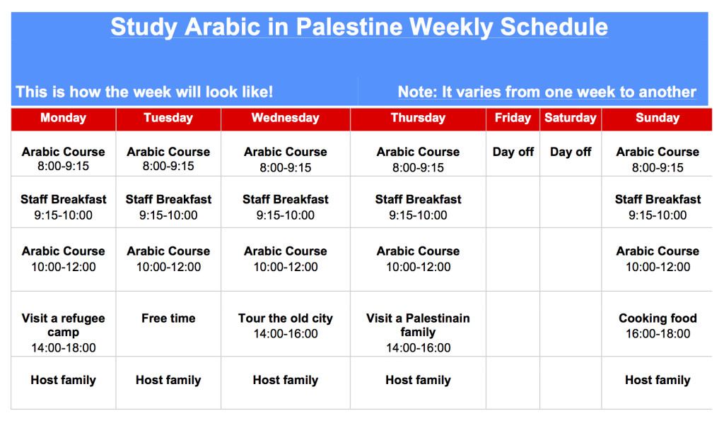 Weekly Plan for Arabic at EC